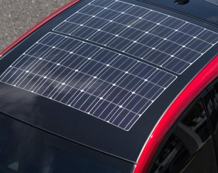 flexible solar panels on a car